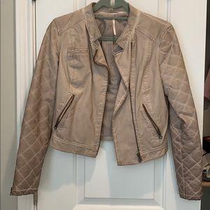 Free People Tan Faux Leather Moto Jacket